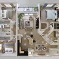 تصميم شقة منزل من 3 غرف نوم – مجلة توب ماكس تكنولوجي - ديكور